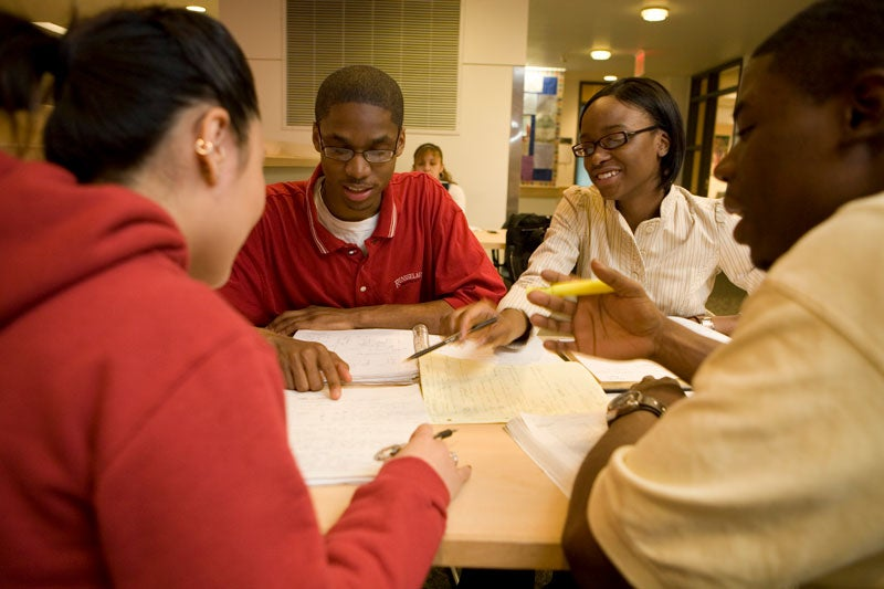 Group of underrepresented students study together