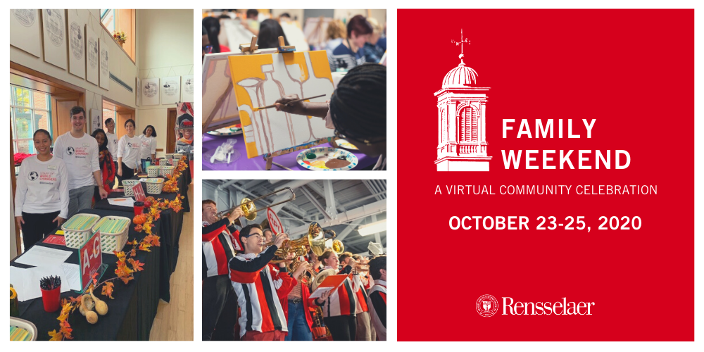 Postcard inviting people to Family Weekend 2020, Oct 23 - 25